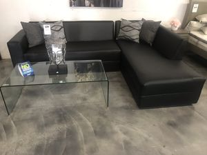 Black L sectional sofa couch COMPLETE NEW SALE for Sale in Hialeah, FL