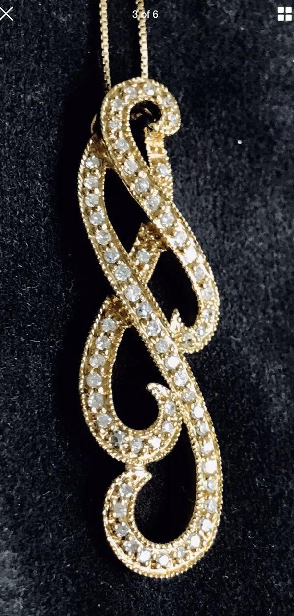 ⅓ Carat Weight, Diamond Gold Pendant Necklace