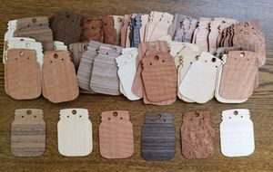 Wholesale lot of 100 wood veneer mason jar earring cards for Sale in Quincy, IL