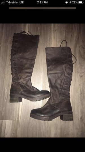 STEVE MADDEN Navaa Brown Leather Tall Knee-High Boot Size 7.5 Zip up and lace up for Sale in Arlington, VA