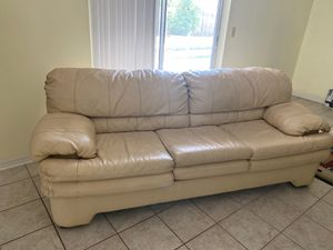 Leather Sofa / Couch seats 3 People - Cream Color for Sale in Poinciana, FL