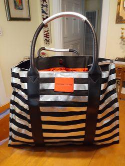 20x8x15 silver and black striped Victoria's Secret tote bag new! for Sale in San Diego,  CA