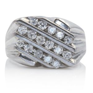 9894 MENS DIAMOND WEDDING RING BAND 1.00CT 14K GOLD 10.50GRAMS for Sale in Beverly Hills, CA