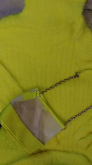 Flourescent yellow long sleeve body sweater dress. Size 3X. But is more like a 2X? And purse to match. $20. New. for Sale in PA, US
