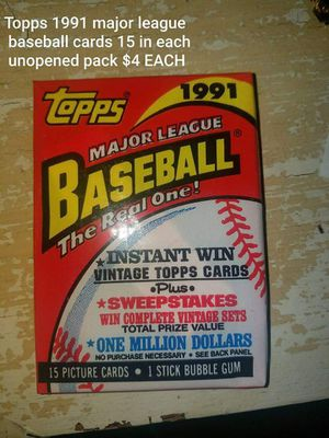 Topps 1991 major league baseball cards 15 in each unopened pack $4 EACH 1991 Donruss baseball and puzzle cards $4 EACH 1992 Donruss Packs for Sale in Leander, TX