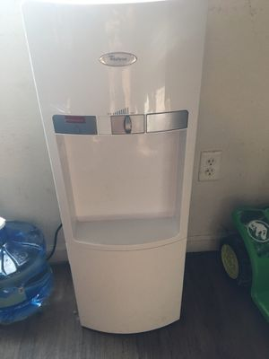 Whirlpool water dispenser with mini fridge in bottom (water included) for Sale in Alton, IL