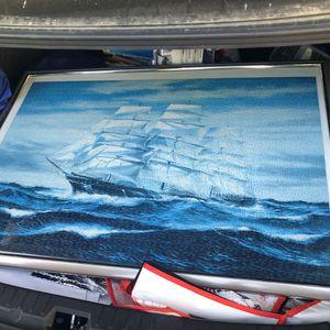 Ship blue sea ocean wave puzzle frame for Sale in Pleasanton, CA