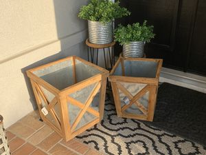 2 brand new farmhouse style planter boxes galvanized metal and wood wooden planter box to cover faux trees fake trees for Sale in Mission Viejo, CA