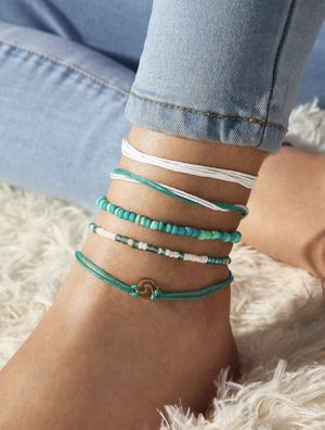 Beautiful NEW 5 piece wave detail and string anklets for Sale in San Diego, CA