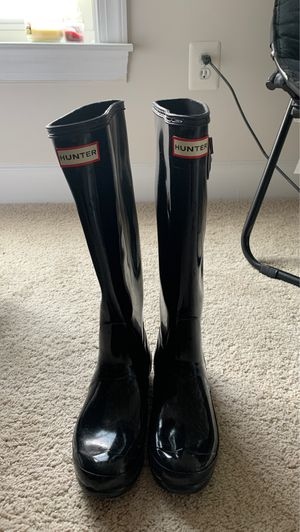 Women's Size 6 Authentic Black Shiny Hunter Boots for Sale in Olney, MD