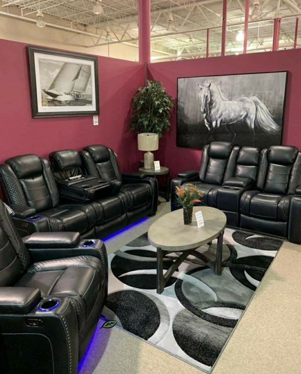 📍📍💲39 Down Payment.📍EXCLUSIVE] Party Time Midnight LED Power Reclining Living Room Set with Adjustable Headrest SAME DAY DELİVERY