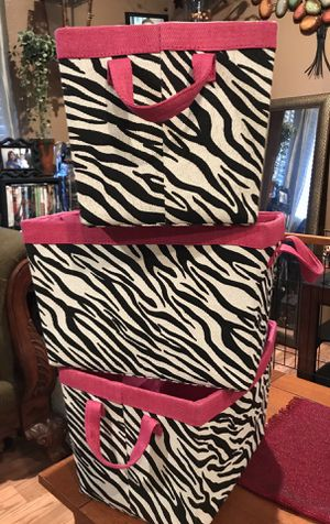 3 Zebra Storage Bin box container organizer for home for Sale in Stockton, CA