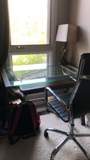 Glass Computer Desk+leather chair for Sale in Kalamazoo, MI