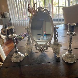 Antique Mirror And Candle Silver Vintage Set for Sale in Los Angeles, CA