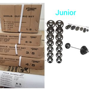 BRAND NEW 300LB OLYMPIC WEIGHT SET +7Ft OLYMPIC BAR/ BARBELL& CLIP 100% CAST IRON PLATE NEW for Sale in Winchester, CA