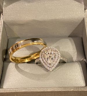Stamped 925 Sterling Silver and 18K Gold plated Engagement/Wedding Ring Set - Code S12 for Sale in Los Angeles, CA