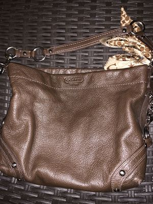 Brown Leather Coach Purse with Scarf for Sale in Frisco, TX