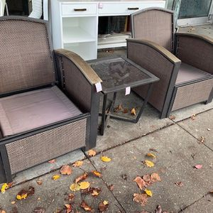 #101782 Pair of Outdoor Rattan Chairs with Pull Ottomans and a Matching Drink Table (You Supply the Back and Seat Cushions) for Sale in Oakland, CA