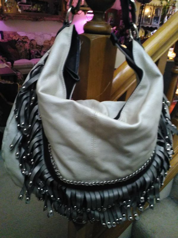 Large Nicole Lee Fringe beaded hobo bag