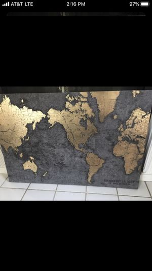 Nice large World map wall decor for Sale in Fresno, CA