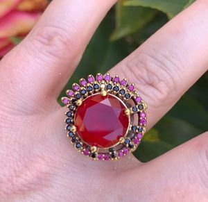 ORIG VINTAGE RUBY SAPPHIRE RING Sz 10 Solid 925 Sterling Silver/Gold WOW! Gems: 1 Brilliant Facet Round Cut Blood Ruby, Round Midnight Sapphires n' P for Sale in San Diego, CA