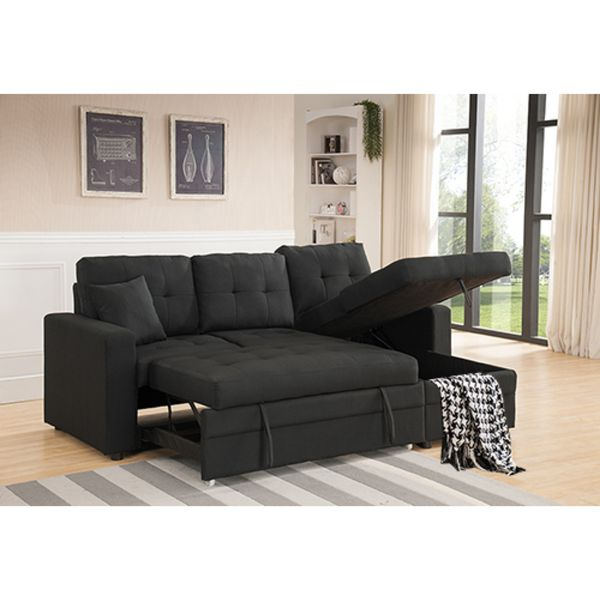 Pull Out Black Linen Sectional Sofa Bed With Reversible Chaise And Storage