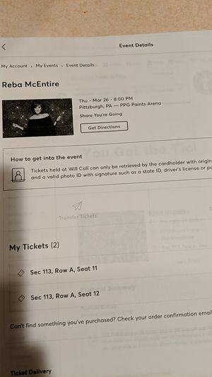 Reba concert tickets March 26,2020 for Sale in McDonald, PA