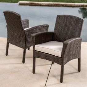 New in box SET OF 2 Santa Fe Dining Brown Chair Outdoor Wicker Patio Furniture With Tan Sunbrella material Cushion $400 at Costco NO ASSEMBLY REQUIRE for Sale in Whittier, CA