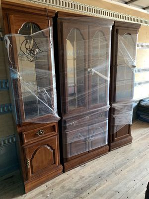 Wood 3 piece lighted Wall unit with glass shelves and doors for Sale in Lititz, PA