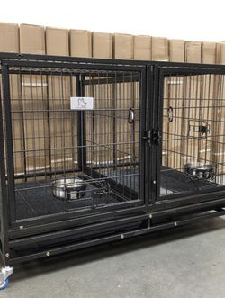 ✳️❇️Brand New HD dog kennel cage, removable divider,bowls, wheels, tray🐶see dimensions in second picture brand new in factory sealed 📦 for Sale in The Bronx,  NY