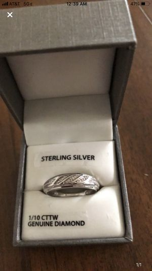 Sterling silver men's wedding ring with diamonds for Sale in St. Louis, MO