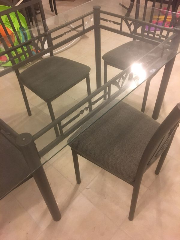 Used Glass Dining Table and Chairs