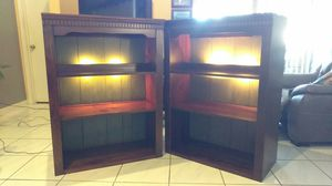 TWO LARGE 47 x 35 x 17 Entertainment Center Hutch Shelves w Green Distressed Shabby Chic Backing & Lights for Sale in Orlando, FL