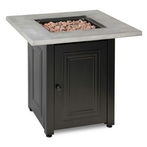 FIRE ISLAND The Wakefield 28 in. x 24.8 in. Square Steel Base Resin Mantel LP Gas Fire Pit Table in Concrete Grey and Black for Sale in Riverside, CA