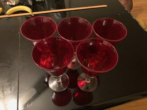 5 Large Red Glass Goblet for Sale in Savage, MD