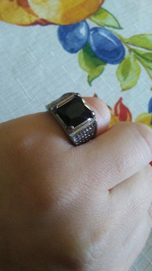 Black sapphire ring size 7 men/women, rhodium plated. for Sale in Victorville, CA