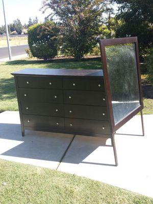 Dresser Dark Cherryish/Brownish 8 Drawer Dresser and Mirror for Sale in Clovis, CA