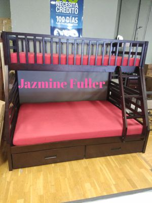 Twin size over Full size bunk bed with drawers and Memory Foam Mattresses included for Sale in Peoria, AZ