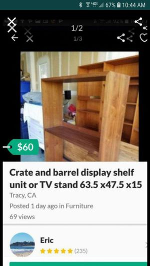 Media TV stand Located in tracy redbridge had slots for pegs if you want to add more custom glass or wood shelves for Sale in Tracy, CA