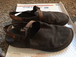 Chaco toecoop mules sandals Sz 14 men's brown leather and grosgrain for Sale in Flagstaff, AZ