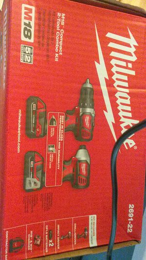 Milwaukee drill and impact drill +bag+charger + ×2 batterys 1.5 M18 red lithium for Sale in Seattle, WA
