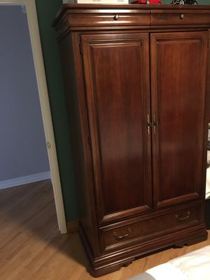Large wood armoire / Wardrobe /TV Cabinet with 3 drawers and shelf for Sale in Miami, FL