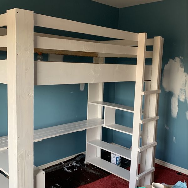 Twin Loft Bed with Desk And 2 Bookshelves
