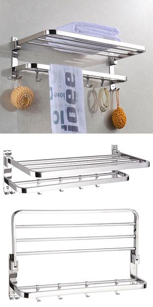 """New $25 Foldable 304 Stainless Steel Towel Rack Bar Wall Mounted Holder Bathroom Shelf, 23x9x7"""" for Sale in South El Monte, CA"""