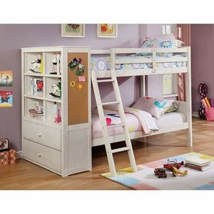 WHITE FINISH TWIN OVER TWIN SIZE BUNK BED ALL IN ONE DRAWERS STORAGE BOOKCASE CORK BOARD for Sale in Riverside, CA
