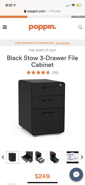 Poppin Black Stow 3-Drawer File Cabinet for Sale in West Mifflin, PA