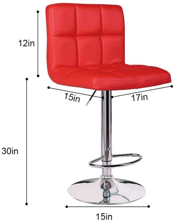 Set of 2 Kitchen Stools Chairs for Bar Modern PU Leather Swivel Stool Bar Chairs with Back (Red)