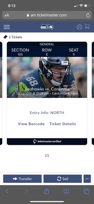 Seahawks tickets 5 ROWS FROM FIELD for Sale in Tacoma, WA