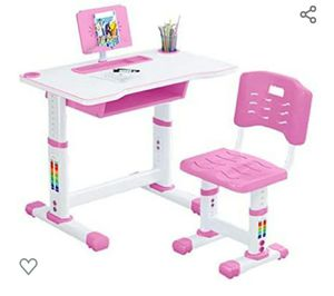 kids adjustable study desk chair for school bedroom with drawer bookstand storage (pink, table:32 inch) for Sale in Arlington, TX