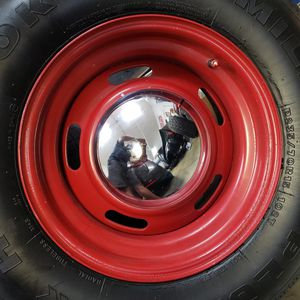 """4 Rally wheels 15"""" with Moon Caps for Sale in Wildomar, CA"""